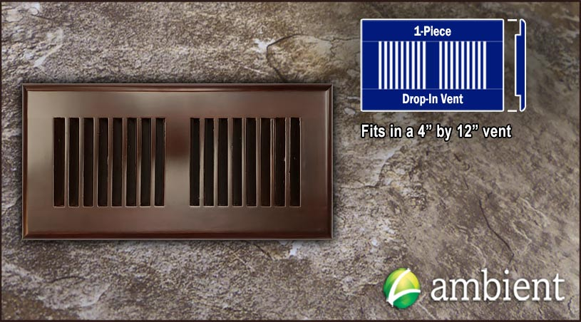 Drop In Bamboo Register Vent Cover4x12 Espresso