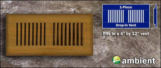 Drop In Bamboo Register Vent Cover4x12 Teak
