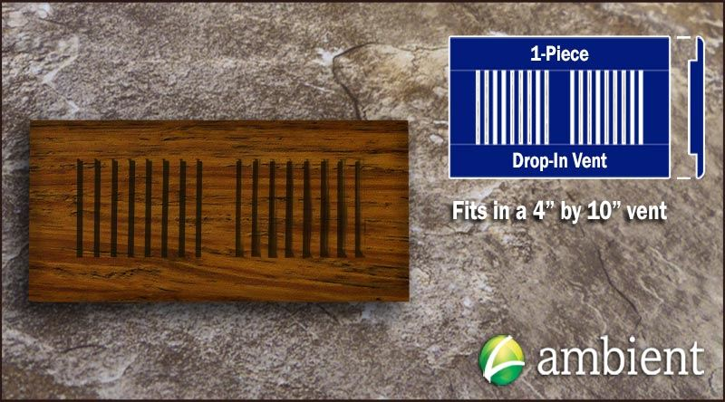 Drop In Bamboo Vent Cover4x10 Carbonized Antiqued
