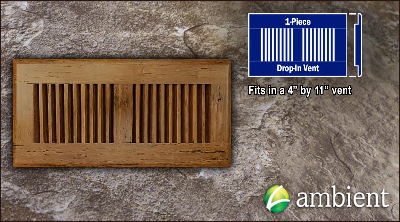 Drop In Bamboo Vent Cover4x11 Carbonized Antiqued