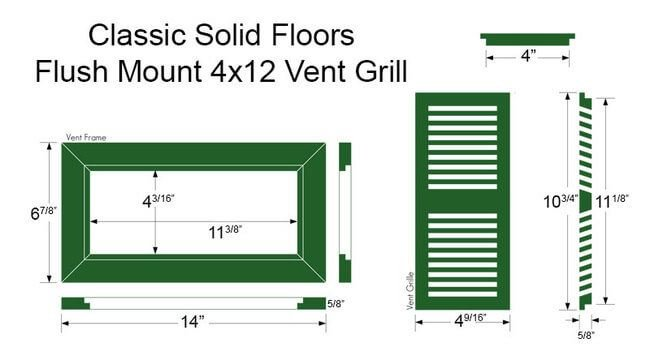 Register Vent Bamboo4x12 Classic Dimensions