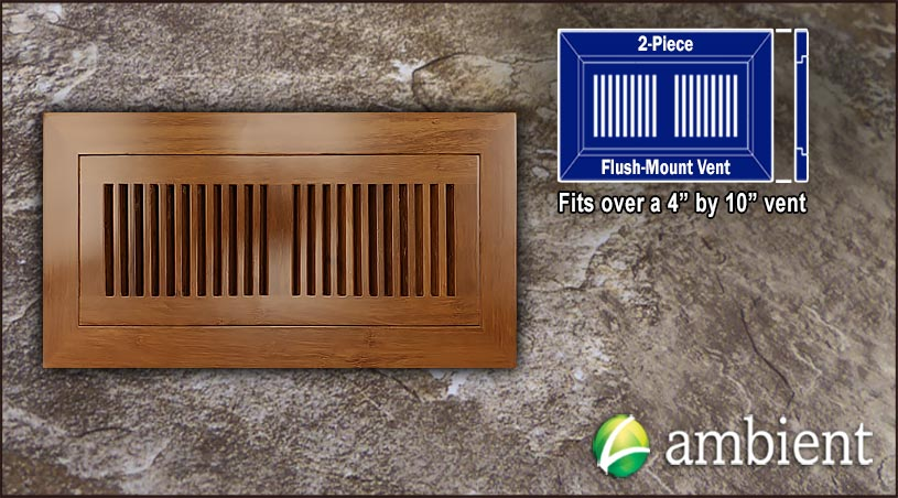 Register Vent Flush Mount Bamboo4x10 Carbonized