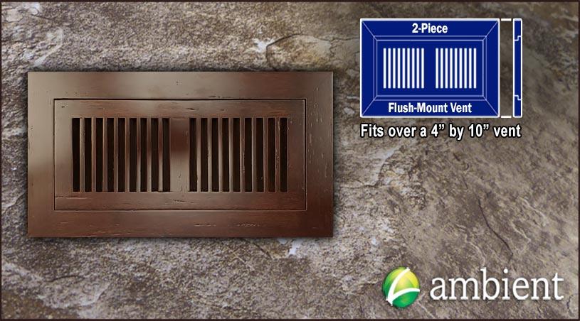 Register Vent Flush Mount Bamboo4x10 Espresso Dist