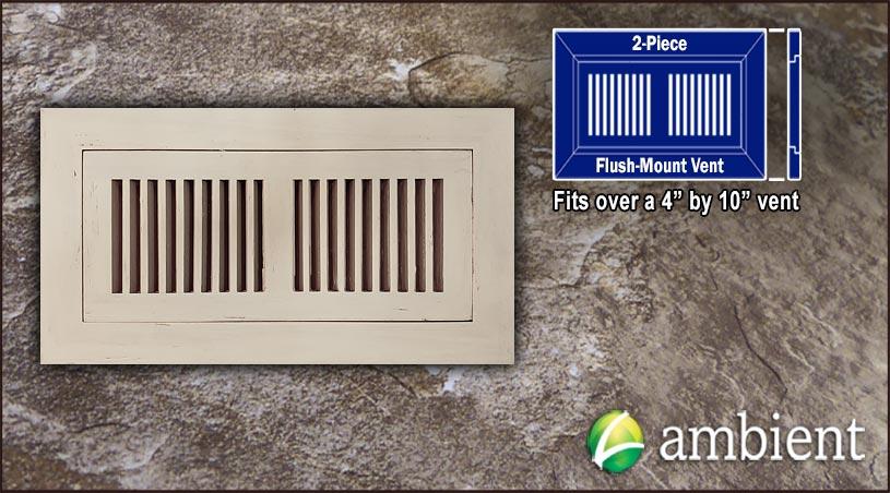 Register Vent Flush Mount Bamboo4x10 Ivory Distressed