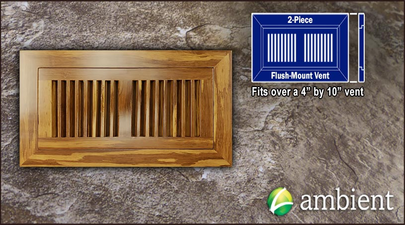 Register Vent Flush Mount Bamboo4x10 Tiger