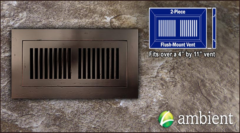 Register Vent Flush Mount Bamboo4x11 Cocoa Distressed