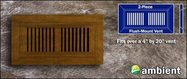 Register Vent Flush Mount Bamboo4x20 Carbonized