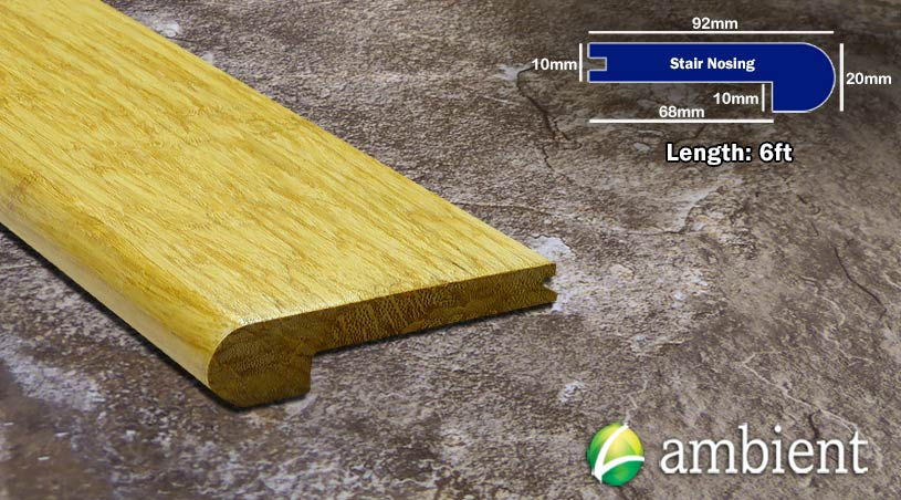 Strand Bamboo Stair Nosing Bull Nose Natural10mm