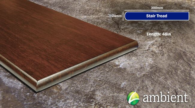 Strand Bamboo Stair Tread49inch Espresso Distressed