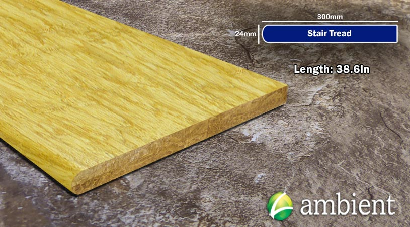 Strand Bamboo Stair Tread Flat Sides38inch Natural