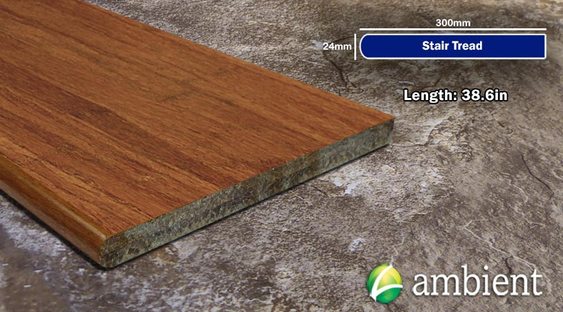 Strand Bamboo Stair Tread Flat Sides48inch Carbonized