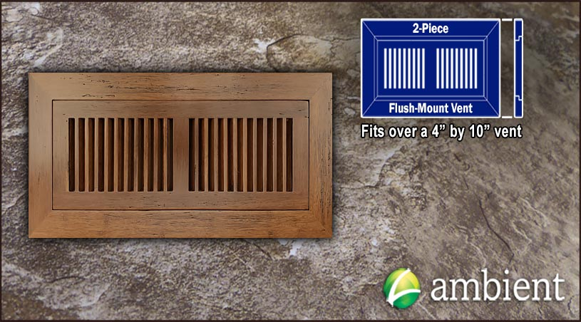 Vent Flush Mount Bamboo4x10 Carbonized Antiqued