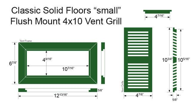 Vent Flush Mount Bamboo4x10small Dimensions