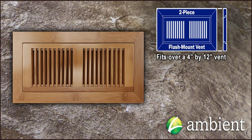 Vent Flush Mount Horizontal Bamboo4x12 Carbonized