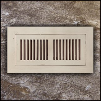 Register Vent Flush Mount Bamboo4x10 Ivory Distressed T