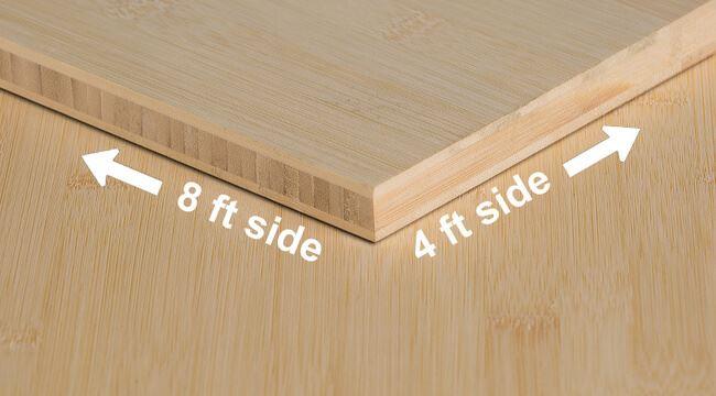 Natural Horizontal Unfinished Bamboo Plywood Sheet Angle
